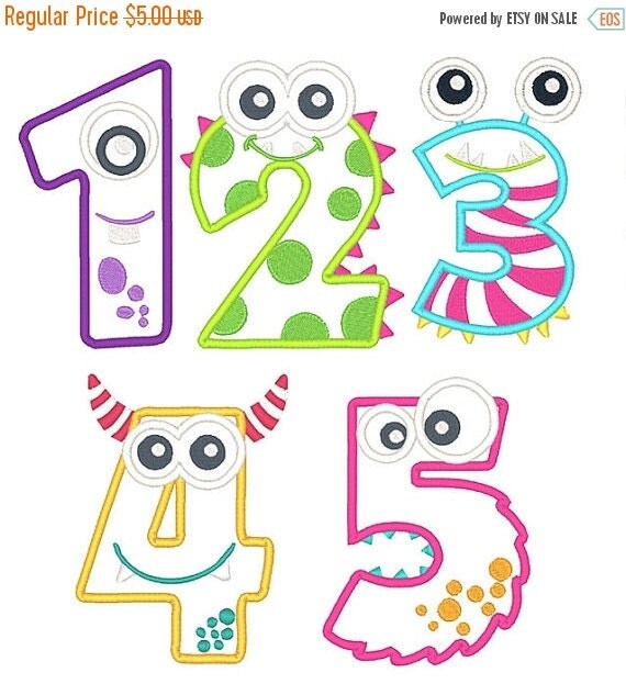 On sale monster numbers applique embroidery by boutiquefonts