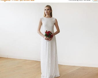30% OFF - Blush Birthday Sleeveless Ivory Floral lace Bridal Gown With Open Back 1147