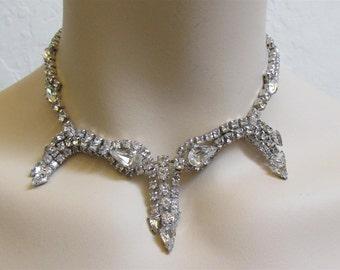 "1950's ""Weiss"" Clear Rhinestone Wedding / Evening / Prom Necklace / Choker"