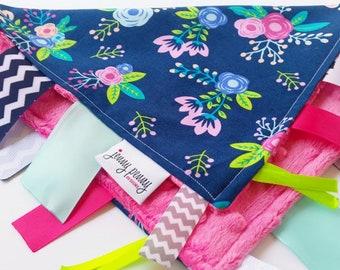 Baby Tag Blanket Minky Dot Tag Blanket in Navy Floral and Pink Minky. Baby Tag Blanket. Minky Tag Blanket. Baby Girl Blanket