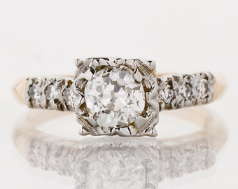 Antique Engagement Ring - Antique 1930's Two-Tone Diamond Engagement Ring