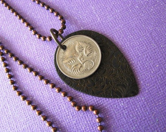 Coin Jewelry, Coin Necklace, Travel Jewelry, Australia Coin, 1983, Animal Coin, Echidna
