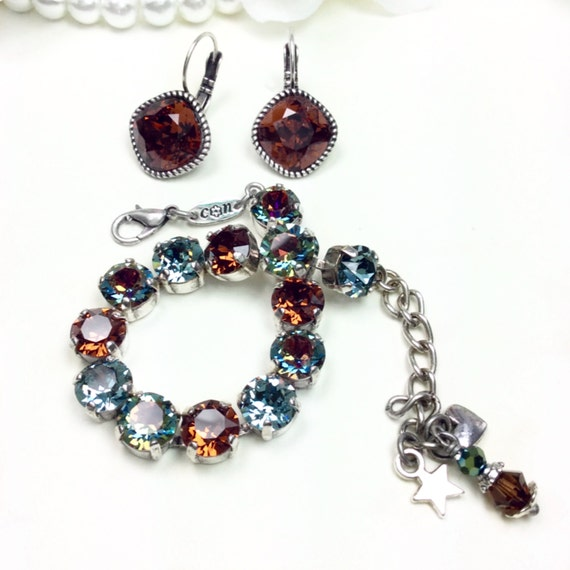 Swarovski Crystal Bracelet & Earring Set - 2 Piece Set - Volcano, Indian Sapphire, and Smoked Topaz - Designer Inspired - FREE SHIPPING
