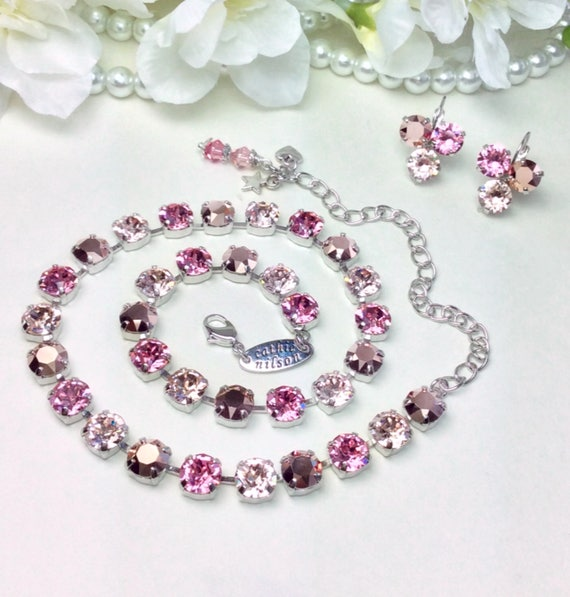 "Swarovski Crystal 8.5mm Necklace  - Designer Inspired -""Rosy Horizons"" -  Rose Gold, Champagne, & Light Rose - Gorgeous - FREE SHIPPING"