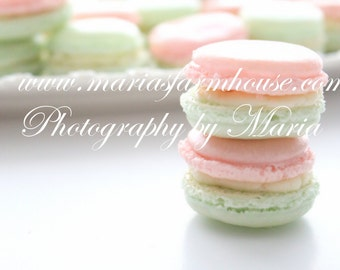 Pastel Green/Pink French Macaron Tower - Photography by Maria