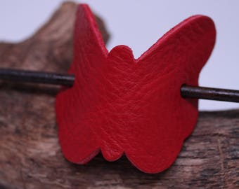 Simple and Unique: Red Leather Butterfly Hair Barrette with stick. Women's Hair Accessory Made in USA!