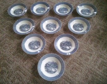 Reserved For roggjt2  Currier & Ives Soup Bowls - Set of Ten Soup Bowls - Blue And White Curried and Ives Bowls - Blue and White Soup Bowls