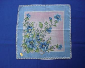 Ladies Handkerchief Blue Flowers and Border Mi Lady