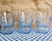 Vintage Set of 6 BLUE GLASSES, Tumblers, Pasabahce Glasses, Contain 180ml, Made in Turkey.
