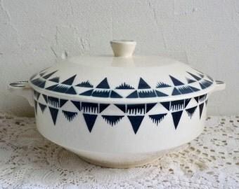 Antique CERAMIC SOUP TUREEN , Cream/ White with Royal Blue Decorative Edges, Stamped Badonviller France, Pattern Gaston.