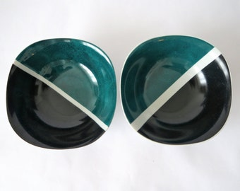 Bowls in porcelain,  deep green and black, made in france, limited edition, gift idea, original and unique,couple,romantic