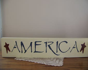 Primitive America Stencilled Sign Patriotic Americana Decor