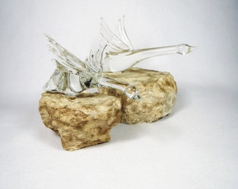 Len Chodirker Snow Geese Crystal Glass Sculptures on Stone Paperweights -- Free U.S. Shipping