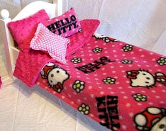 HELLO KITTY 18 Inch Doll Fleece and  Hot Pink Minky  Reversible Cover - 1 Minky Pillow -1 Fleece  Pillow-1 Polyester Pillow- Luxury Bedding