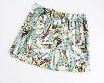Pleated Mini Skirt / Novelty Print / Mint Seafoam Green / 90s Clothing / Tennis Skirt / M L