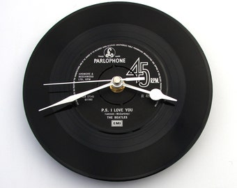 """The Beatles Vinyl Record CLOCK, made from recycled record, """"P.S. I Love You"""", 7"""" single,black and silver, anniversary, gift for men or women"""