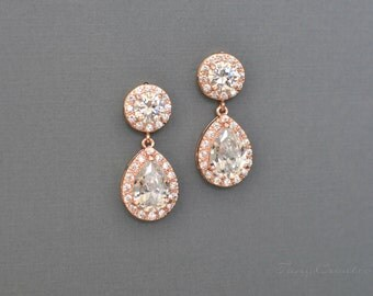 Rose Gold Wedding Earrings Earrings Cubic Zirconia Bridal Jewelry Wedding Jewelry Sparkly Teardrop Sparkly Crystal Bridesmaid Gift TAYLOR