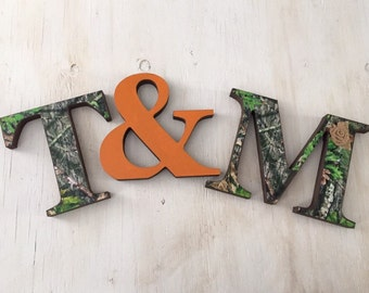 Camo Standing Initials and Ampersand - Camo Letters - Camo Wedding Decor - Camo Home Decor - Camouflage Wedding - Camouflage Gift