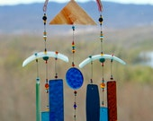 Recycled Glass Wind Chime,Wine Bottle,WindChime, Wedding, Beach Glass,Glass,Blue, Chime, Wind Chime.