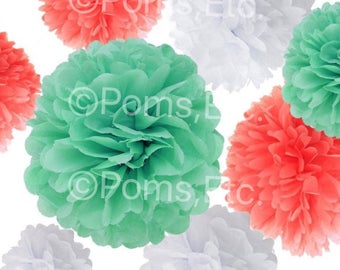 9 tissue paper Pom Pom kit- mint white and coral tissue paper poms // diy // wedding decoration // baby shower // party decor