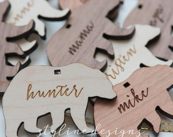 10+ Polar Bear Gift Tag - Laser cut and Etched on Wood