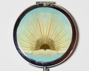 Abstract Sunrise Compact Mirror - Art Deco Sun - Make Up Pocket Mirror for Cosmetics