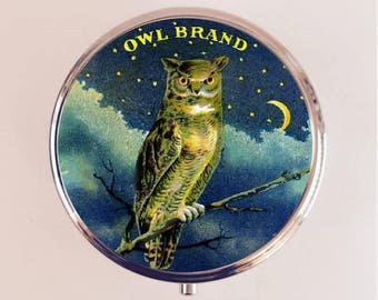 Victorian Owl Pill Box Case Pillbox Holder Trinket Box Vintage Advertising Bird Ad