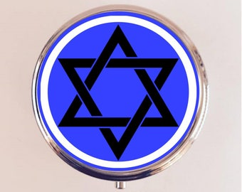 Star of David Pill Box Case Pillbox Holder Stash Trinket Box Jewish Symbol Hebrew Judaism Blue