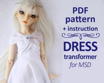 PDF pattern Romantic Dress transformer for MSD bjd Minifee, Ellowyne, Tonner & Similar dolls 16 inches