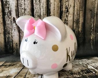 LARGE Personalized pink polka and gold polka dot piggy bank, girl bank, birthday banks, custom piggy banks, baby's first piggy bank