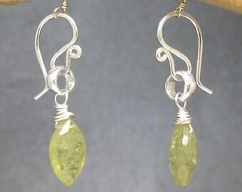 Petite Peridot Gemstone Drop Dainty Earrings Victorian 325