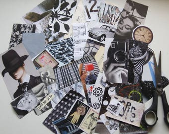 Collage kit, color coordinated, black and white, art kit, paper goodies, clippings, journaling, scrapbooking