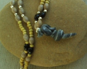 Grey Beaded snake necklace,filo clay and natural beads