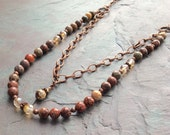 "Leopard Jasper Necklace / One-of-a-Kind / Double Strand / Gold Czech Glass Beads / Antique Copper Chain - 26"" long - N86"