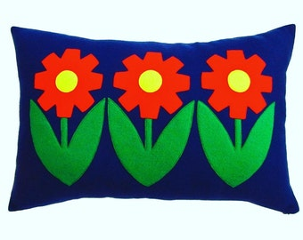 Flower power blue lumbar cushion cover
