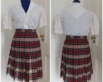 Vintage Lindsey Blake Wool Pleated Plaid Tartan Winter Skirt Kilt