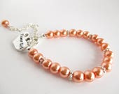 Coral Flower Girl Name Bracelet