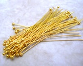 50 Head Pins - Gold Tone Head Pin - Long Eye Pins - 2 Inch HeadPin Lot - Jewelry Making Supplies - Findings