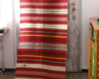 8.9ft x2.3ft, Vintage Hand Woven Kilim Fabric ,Kilim Rug Runner Organic Wool /Natural fabric ,Kilim Fabric Scraps