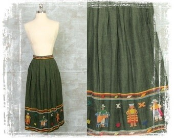 1950s Folklore Skirt, Mexican Skirt, South American Embroidered Skirt, High Waist, Long Skirt, Tribal, Olive Green, Small