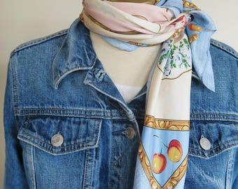 Large silk scarf, china  plates, carre, square silk scarf, 80s fashion, novelty print, ladies headscarf, neck scarf silk. silk scarves