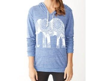Womens ELEPHANT Shirt *Tshirt Lightweight* Sweater Alternative Apparel Gray Blue Green