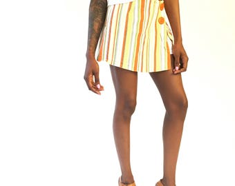 90s skort with orange yellow green stripes | Park Avenue label | skirt over shorts | size xs/sm