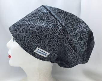 Slouchy Scrub Hat Style Grey with black design