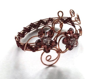 Copper and burgundy wire wrapped floral cuff