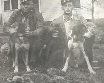 Coon Hunters, Coon Dogs, Raccoon Vintage Found Photo