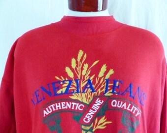vintage 90's Venezia Jeans graphic sweatshirt red fleece navy blue embroidered logo yellow wheat crest logo mock neck pullover jumper XL