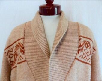vintage 70's 80's Robert Bruce southwestern shawl collar knit beige orange heather wool blend cardigan sweater belted kimono style Large