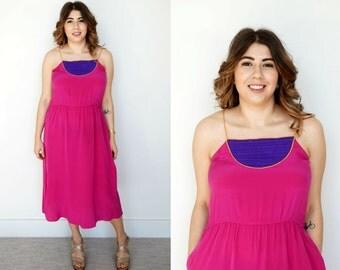 Vintage Pink Dress / 1970s Dress / Silk Dress / Oleg Cassini / Hot Pink Dress / Silk Sundress / Oleg Cassini Dress / Medium / Magenta / Midi
