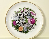 Currier & Ives Plate - Love One Another - Vintage Garden Flowers